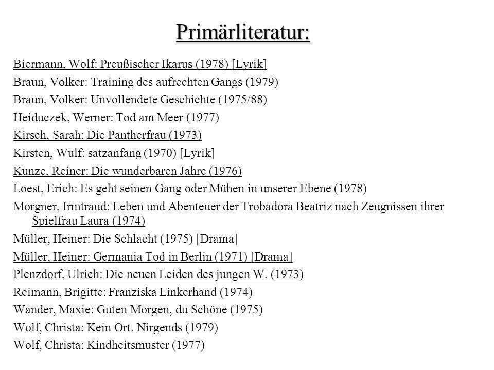 Primärliteratur: Biermann, Wolf: Preußischer Ikarus (1978) [Lyrik]